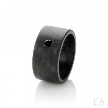 kulfiberring carbonfiber C6 Black Princess Wide Kulfiberring en sort kvadratisk diamant